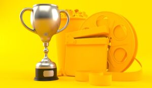 Cinema background in yellow with trophy