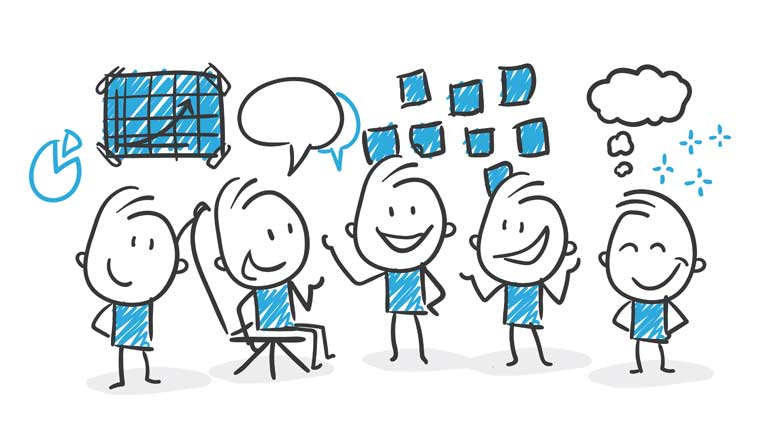 An illustration of five people collaborating