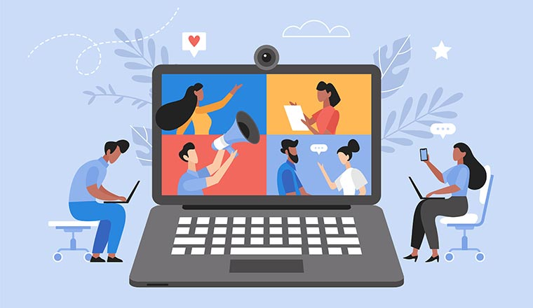An illustration of a laptop and people collaborating
