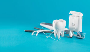 Tooth, health, dentistry objects on blue background