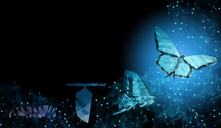 Background of abstract Business transformation innovation, change from to high technology like butterfly life cycle