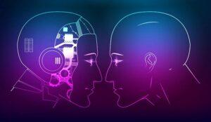 A robot head outline facing a human head outline