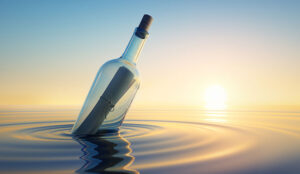 A message in a bottle in the sea