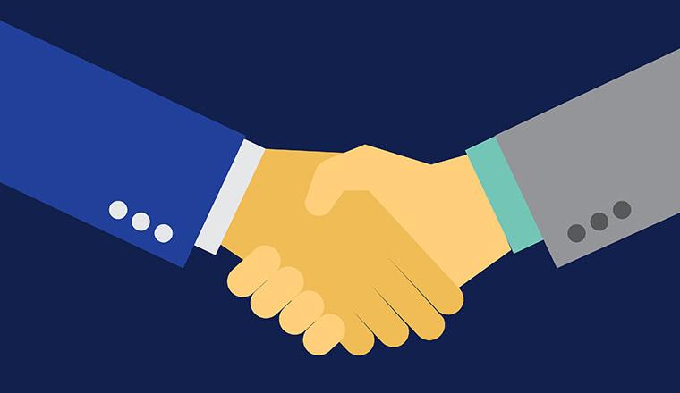 Vector partnership handshake illustration.