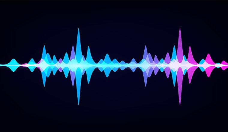 Vector waveform on dark background like soundtracks digital pattern