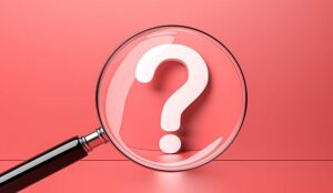 White question mark with magnifying glass on red background