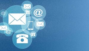 Contact icons on blue dotted backgrounds