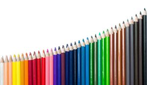 Coloured pencils in the shape of a curve graph