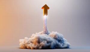 An arrow taking off like a rocket