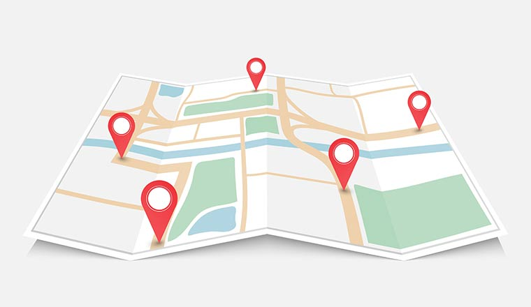 Folded paper city map with red pin pointer, vector illustration