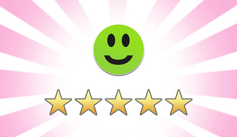 Green smiley face and 5 star feedback review rating