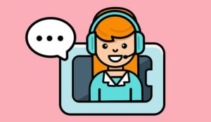 Person on headset illustration