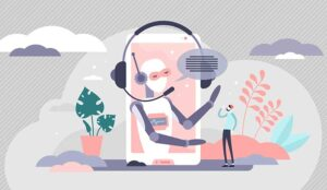Vector illustration of a call centre AI agent