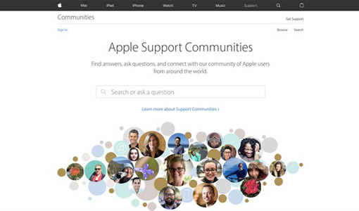 A screenshot of the Apple support community