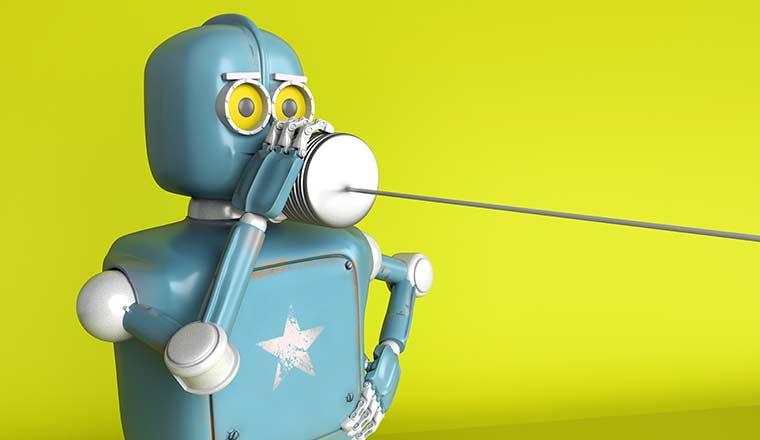 Retro Robot with Tin Can Phones