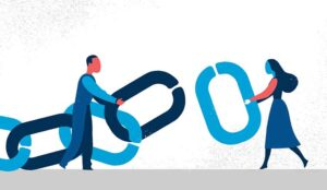 An illustration of two people connecting chain links