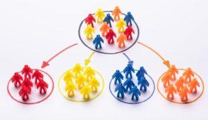 A picture of multicoloured people in a circle with arrows leading to groups of the same colours
