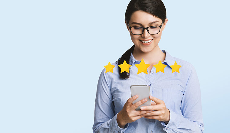 Person on phone giving an experience rating