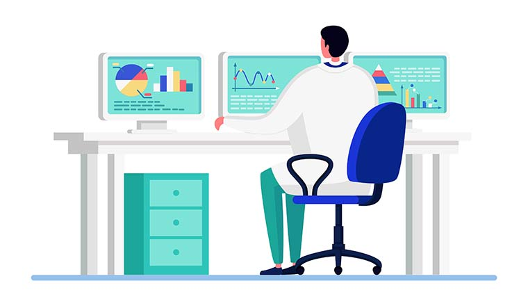 Illustration of a person working on data
