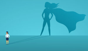 Supervisor with big shadow superhero