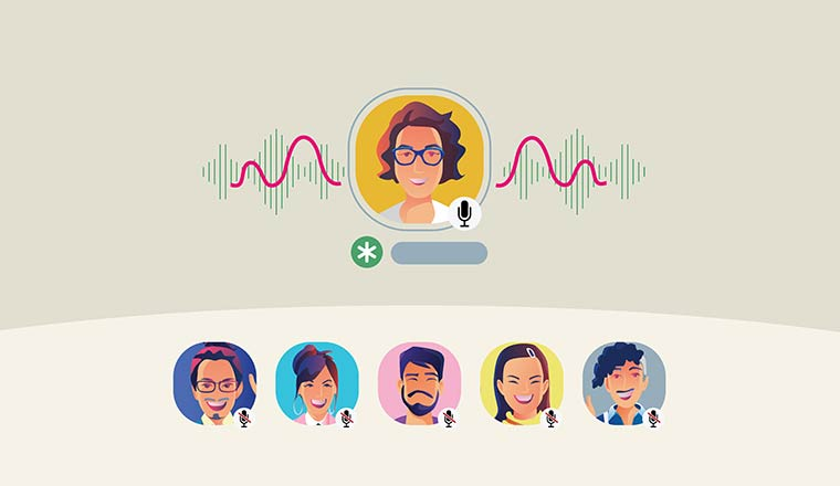 An illustration of people participating in a group event with headshots and the speaker showing audio lines