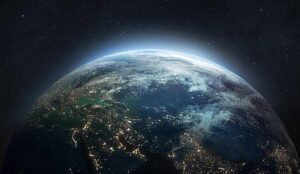 Nightly planet Earth in dark outer space.