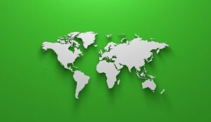 World map on green background