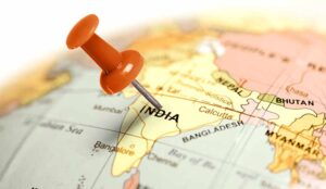 Location India. Red pin on the map