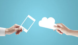Two hands holding a phone and cloud cutout on a blue background
