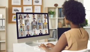 Person on video conference on computer