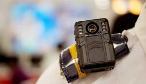 A picture of a body worn camera to capture photos and video during law and order situations by police officers
