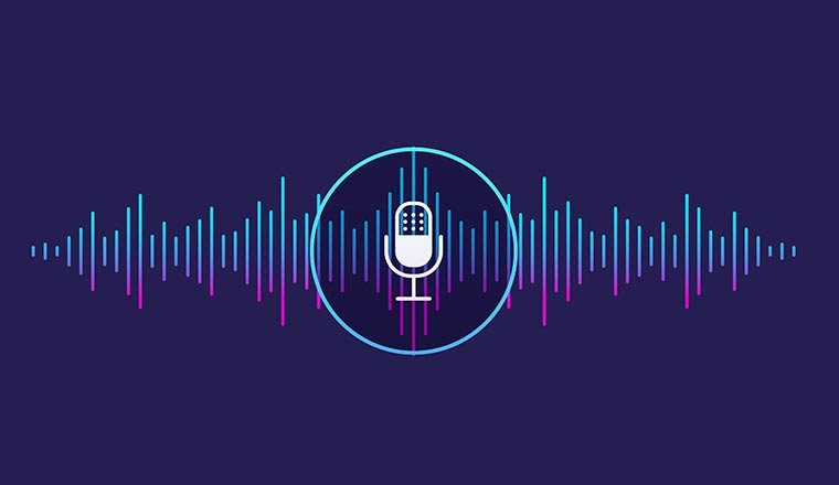 Sound wave with microphone icon.