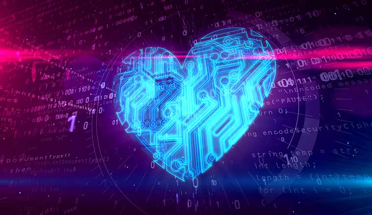 A digital heart on coded background