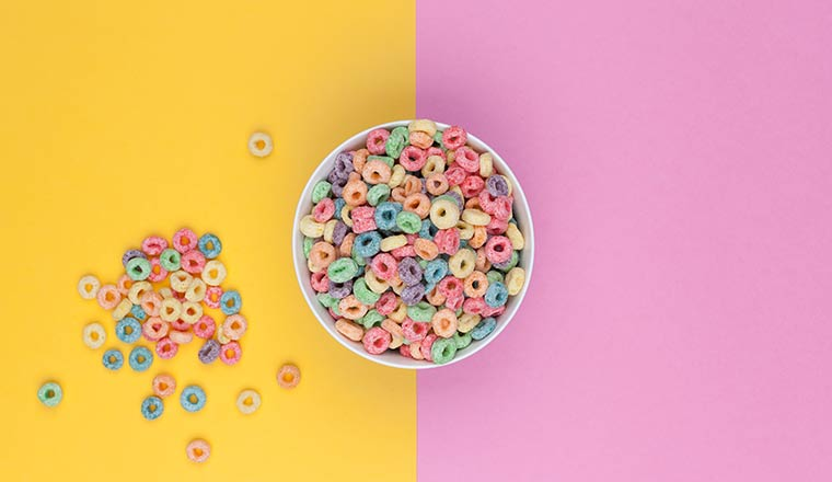 Bowl of colourful loops top view
