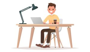 Illustration of person working at desk at home