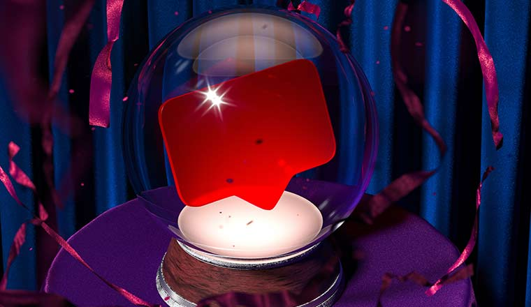 Magic Ball Fortune Teller With Speech Bubble Inside on Violet Cloth