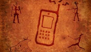 A cave painting of a phone