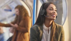 A picture of a person wearing Jabra's headset
