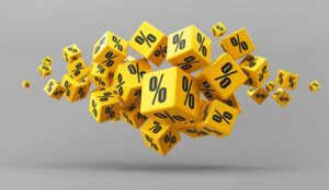 Flying yellow percentage cubes on a gray background.