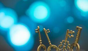Keys to a secret representing customer service secrets