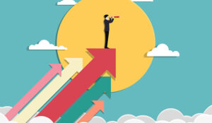 An illustration of a person on arrows, in front of a sun staying on top of business